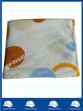soft feeling graceful circles printed edge folded coral fleece throw
