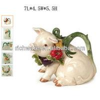 ceramic chef teapot pig decoration,home decor