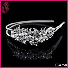 Korean Wedding Hair Accessories Pearl Crystal Flower Headband For Bridal
