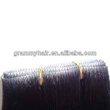 100%human virgin hair skin weft /tape glue hair extension
