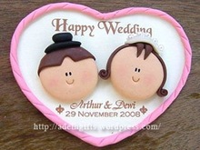 Fridge Magnet Couple Clay with printing paper