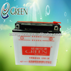 Green best quality used motorcycles for sale,12v 5ah for salemotorcycle battery,(12N5-3B)