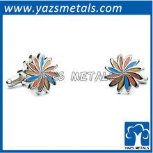 customize cufflinks, custom made blue and orange daisy cufflinks