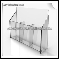Clear desktop organic glass acrylic file flyer case with 3 pockets