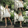 Simple Sweetheart Appliqued Flowers Pleat Ruched Satin Ball Gown A-line First Night Short Sexy Wedding Dress