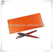 Metal Ball Pen And Orange Leather Gift Bag