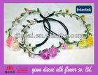 Braid&elastic rubber band/Fabric rose flower/leaf Wreath
