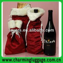 hot selling christmas velvet wine bag