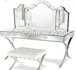Desk on Make Up Desk Set Tempered Furniture Glass Transparent Garden Mosaic