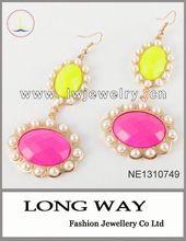Fashion Golden fluorescence Green & Pink Resin Oval Flower Pearl Dangle Earrings