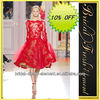 Hot Sale Good Quality Tulle Beaded Lace Appliqued Short Red Evening Dress Long Sleeves