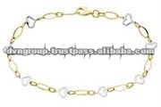 Two Tone Chain Bracelet,Rhodium / Gold Plated, Stylish Unisex Band, Silver Spinner Bands.