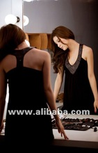 0209 Deep V-neck drape Tank Dress (Black)