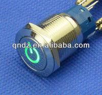 QN19-C5 19mm green power symbol 6V DC Led Latching flat Push Button Angel Eye car Switch