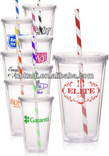 2012 New Style Clear Double Wall Acrylic Tumbler with colourful Striped Straw, plastic water bottle,drinking bottle