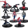"8 pcs Set Spider Man Venom 3 "" Action Figure com Base nova"