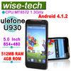ulefone U930 5 inch Android 4.1 MTK6572 512MB 4GB 3 sim card mobile phones dual camera OEM \
