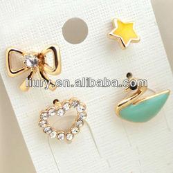 Wholesale Unique Creative Heart Bow Star Swan Studs Set