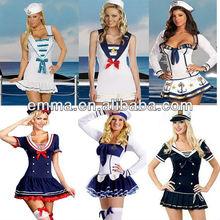 Ladies Sexy Sea Sailor Naval Pilot Air Hostess Uniform Fancy Dress Costume BW240