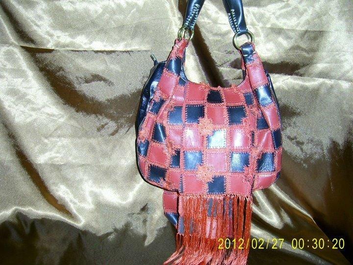 Leather Handbag with a Scarf