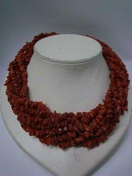Red Coral Torsade Necklace