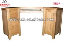312 Range Solid Oak 1 Door 3 Drawer Computer Desk/Wooden Computer Desk