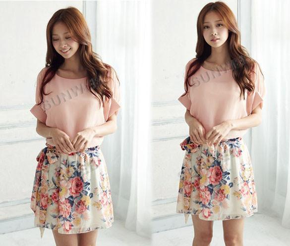 New dress summer casual Women's Charming Crewneck Chiffon Short Sleeve Print Floral Dress 2  ...