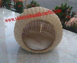 Natural rattan cat bed