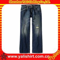 2013 OEM high quality dark blue denim men wash hole design pictures of jeans pants