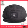 100% linen promotional black 5 panel strap back hat