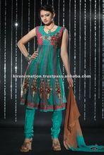 Green Netted Designer salwar kameez
