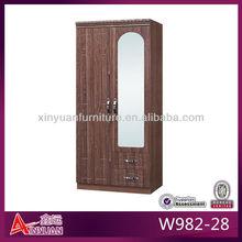 W982-28 mirrored wooden double door steel handle wardrobe design
