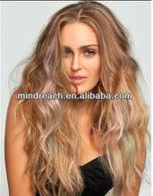 "Hot-selling AAAAA grade top quality 16"" 613#/8#/purple/light green Natural Wave Brazilian virgin hair full lace wig"