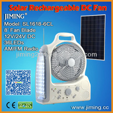 Portable Solar Rechargeable Fan with 36 LEDs: SL1618-6BL (DC Power)
