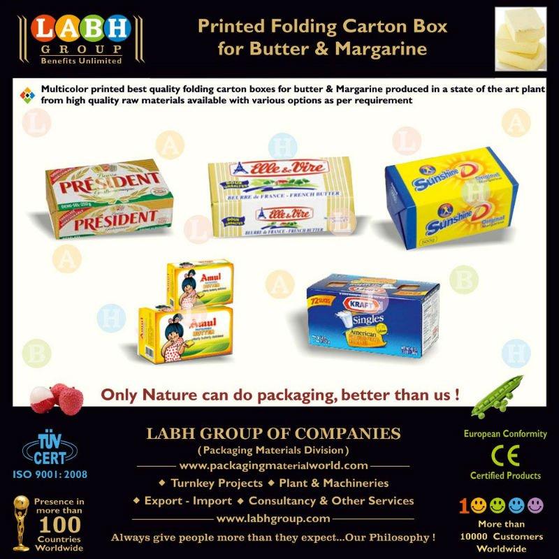 Beurre et carton de pliage imprimé par margarine