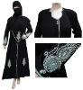 Black Zircon 3 Pcs Abaya Islamic Niqab Hijab Clothing L