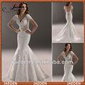 Jw0579 V-Neck Lace tecidos Sash abrir voltar Design sereia manga curta vestido de noiva