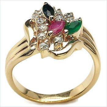 10K Yellow Gold Multi Stone Ring, Jewelers