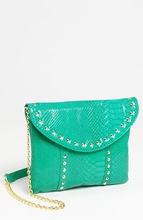 2014 newest products colorful shiny studs cross body clutch bags patent snake embossed leather handbags