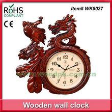 43x40.5cm Quartz clock metal dial wall clock dragon & phenix pattern wood art work