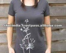 100% Cotton Silk Screen Printing Women T-Shirt