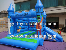 Bright blue cartoon inflatable jumping bouncy
