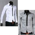 casual false cravatta slim fit moda manica lunga camicia degli uomini camicie di lusso grigio 3261 ingrosso