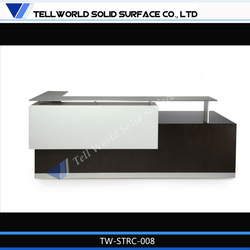 Double floor high gloss finishing artificial stone service desk with tempered glass top