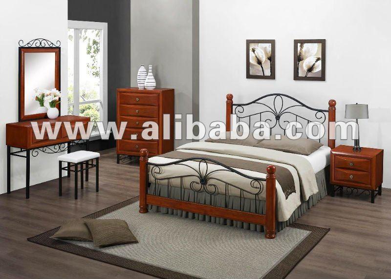 Meubles de chambre coucher en m tal et en bois ensemble for Ameublement de chambre