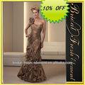 venda quente de boa qualidade tafetá de um ombro babados bronze de vestidos de noite