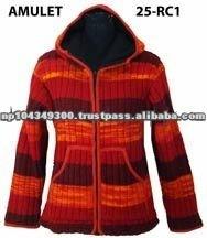 Woolen fleece lined jacket with hood