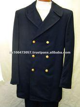 Men's Blue Wool / Polyester Winter Coat