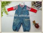 100%cotton Winter Children denim overalls+plaid shirt/kids clothing 2pcs set for boys