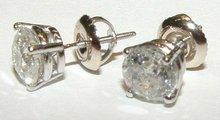 1 carat F VVS1 ROUND natural DIAMOND STUDS EARRING post